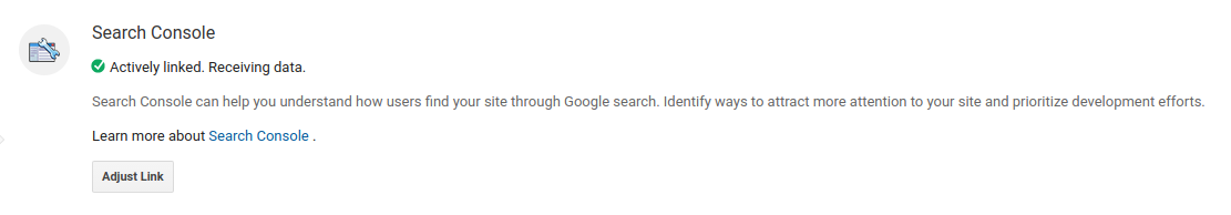 Successfully Linked Search Console