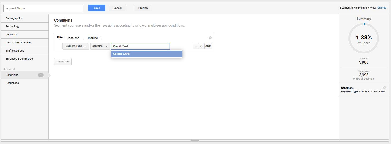 Google Analyitcs Custom Definitions Credit Card