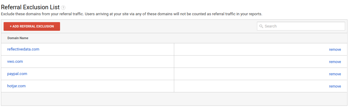 Google Analytics Referral Exclusions