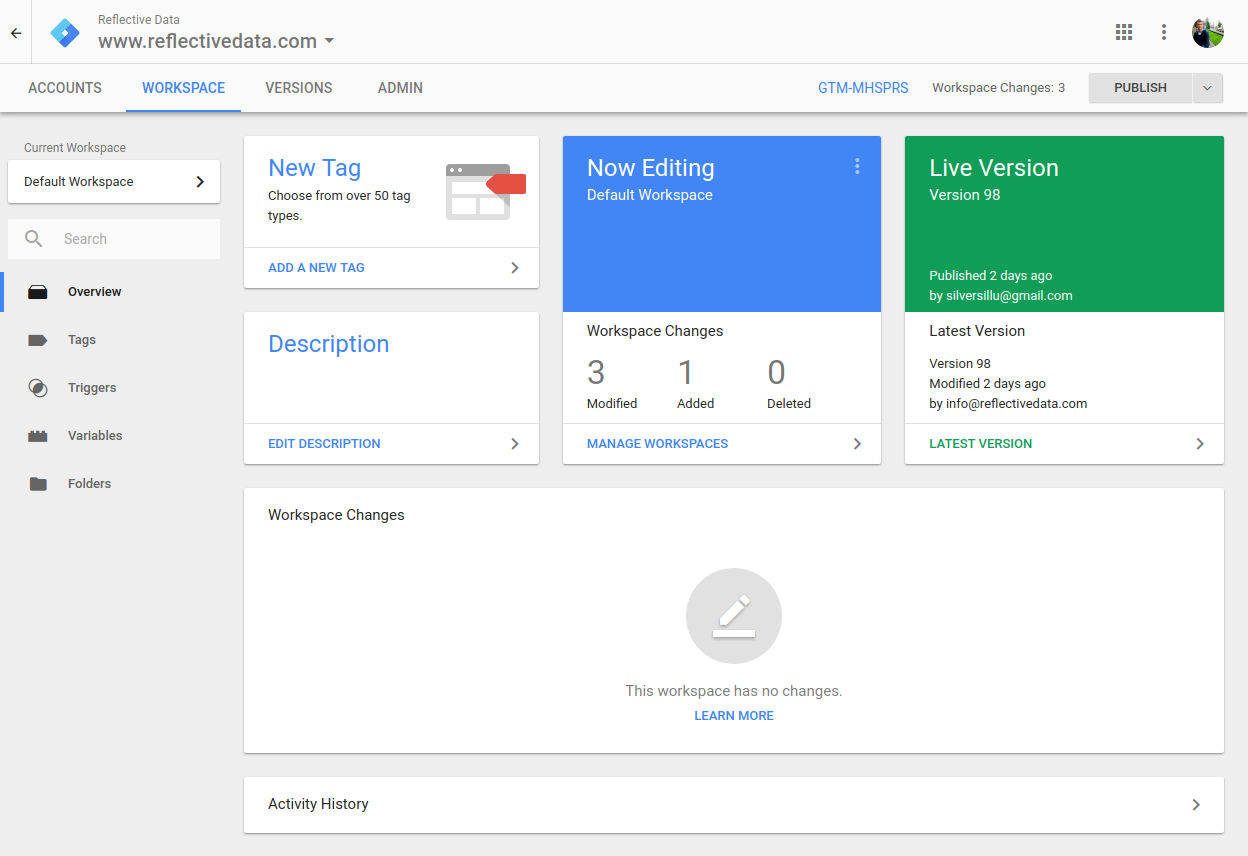 Screenshot from Google Tag Manager