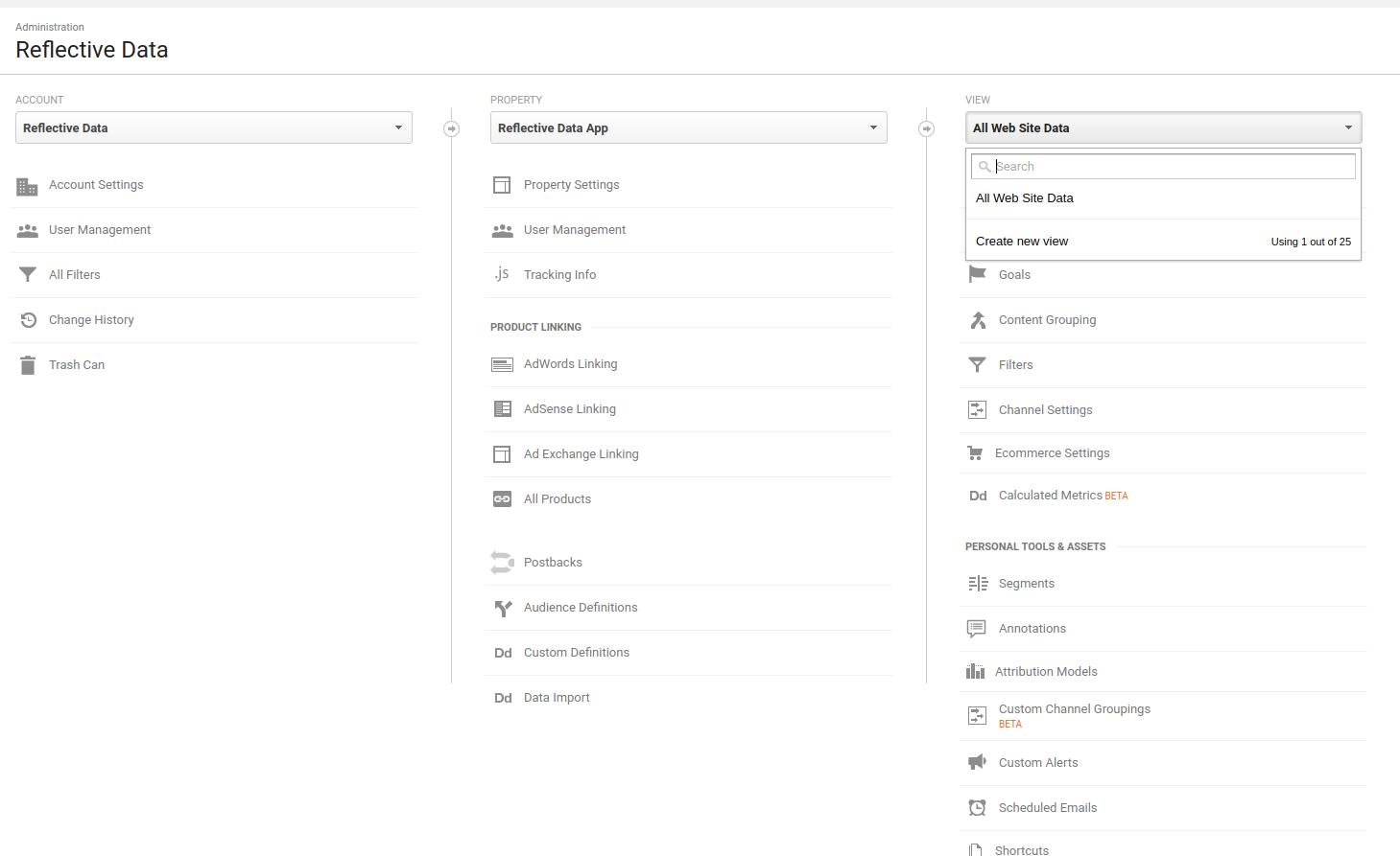 Google Analytics Create New View