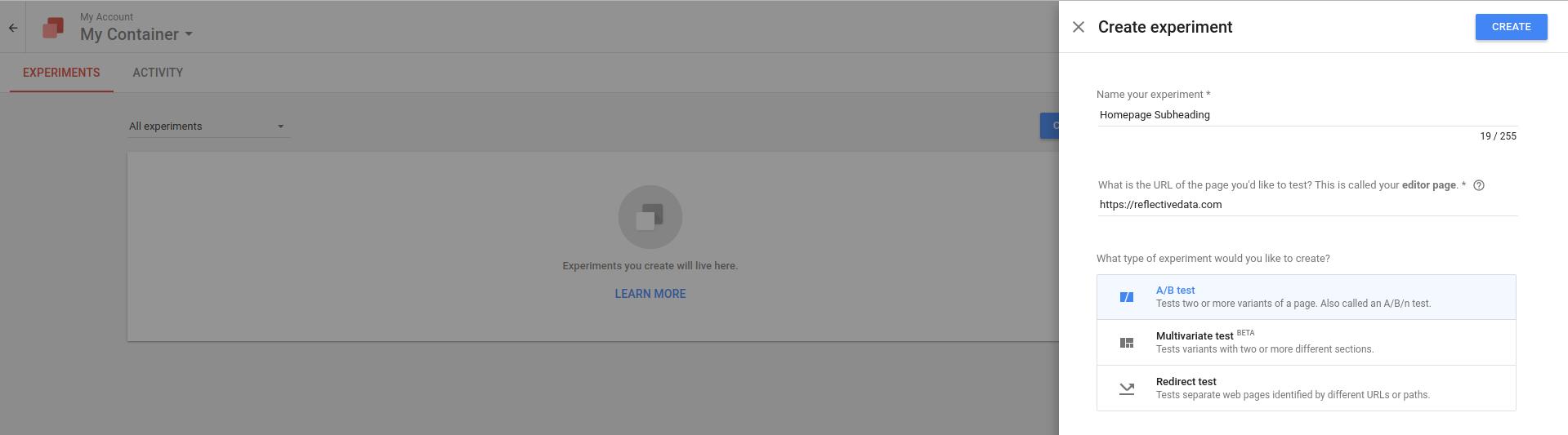 Google Optimize Create Experiment