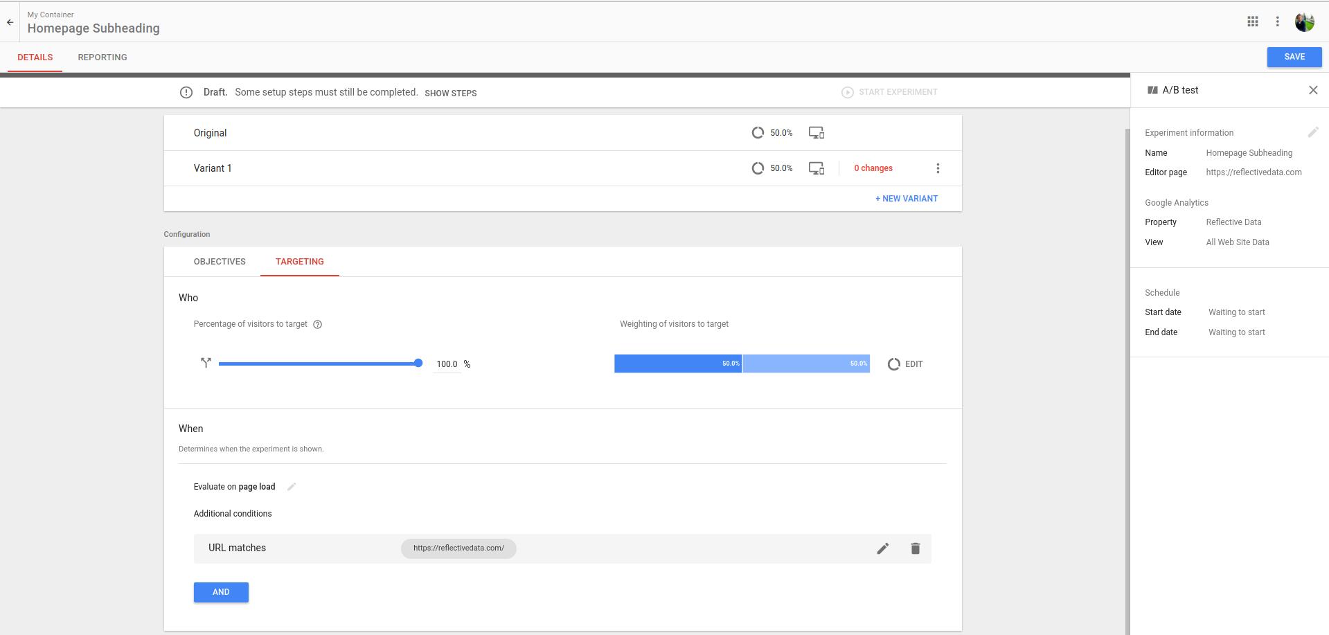 Google Optimize Experiment Screen
