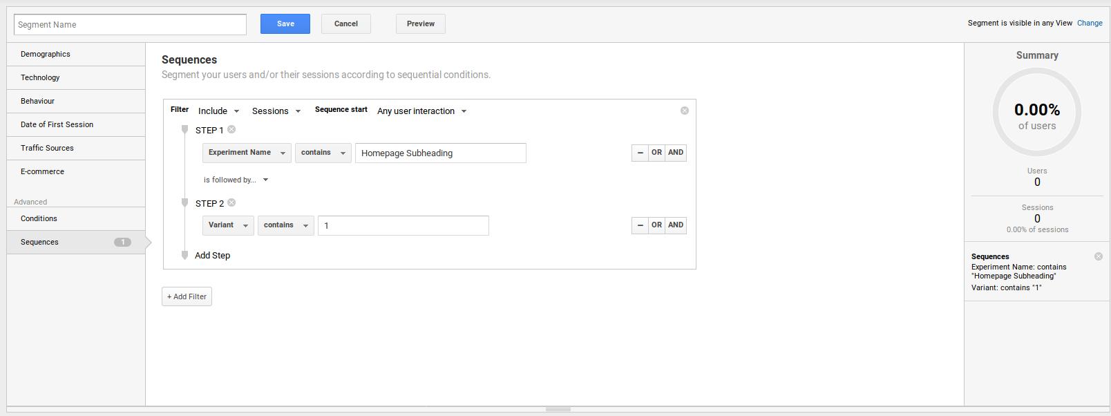 Google Analytics Experiment Segment