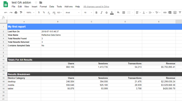First Google Analytics Report in Google Sheets