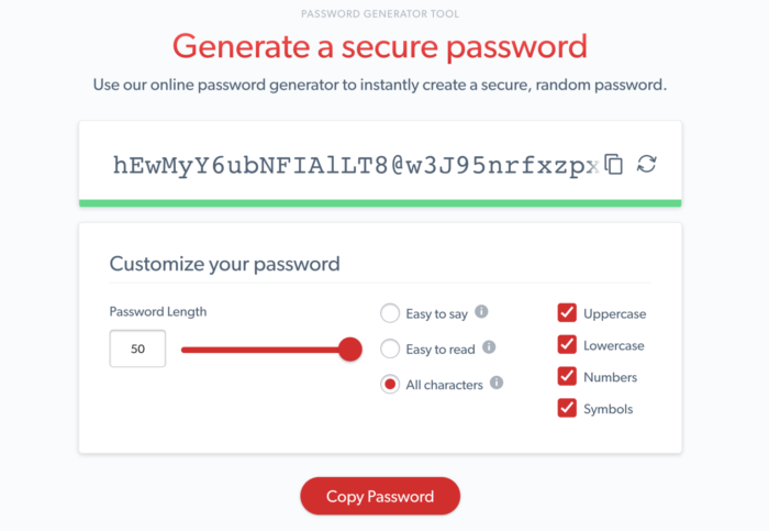 Generated strong password