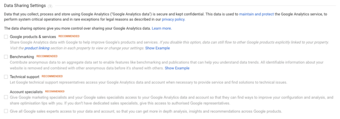 Google Analytics Data Sharing Settings