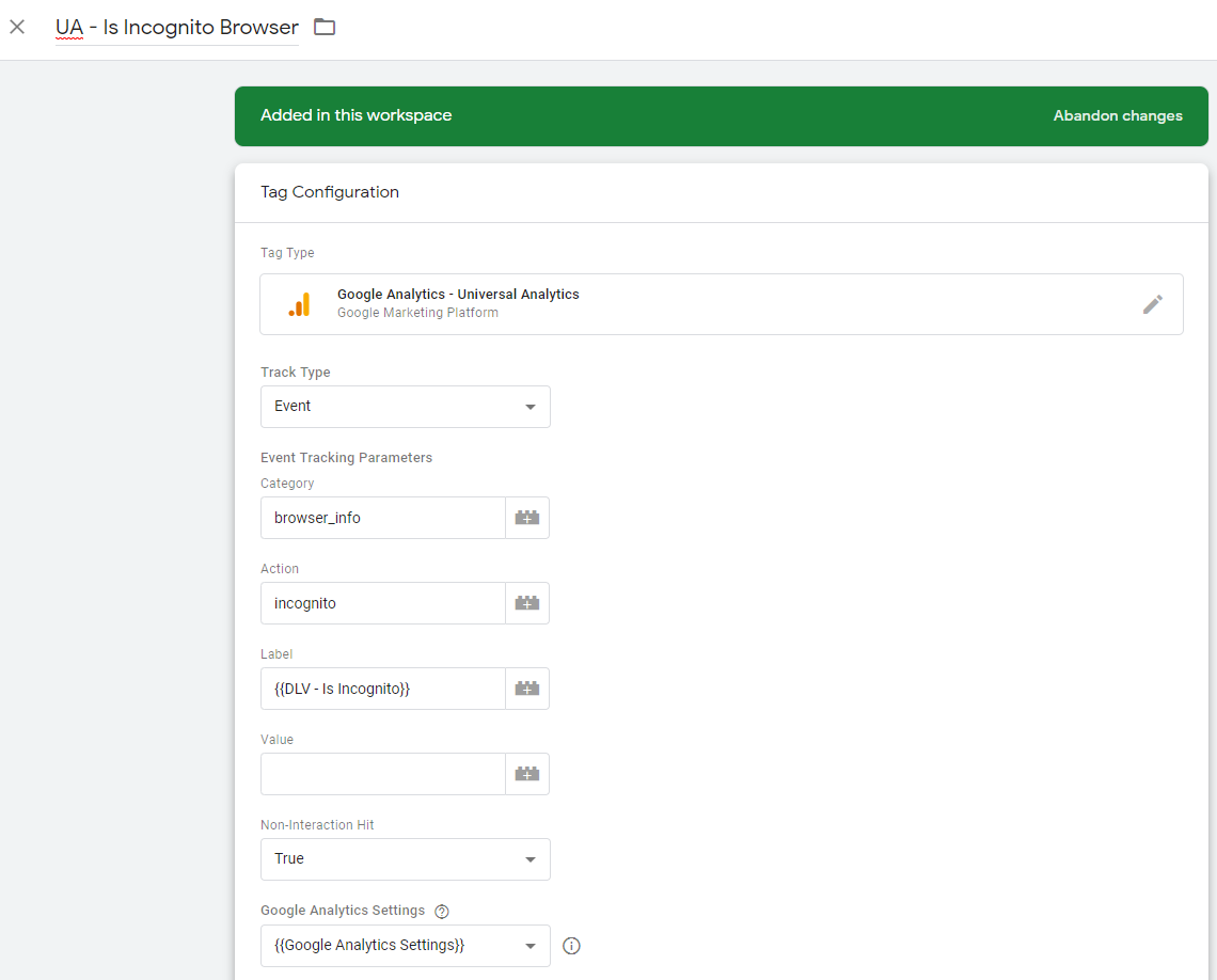 Google Tag Manager Is Incognito Browser Tag