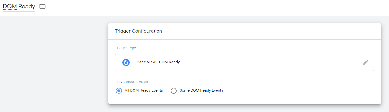 Google Tag Manager DOM Ready Event