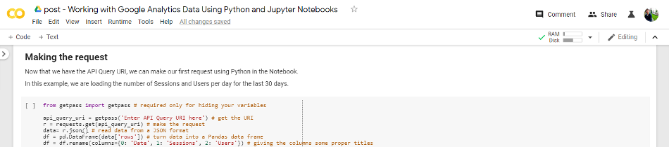 Google Analytics data in Jupyter Notebooks