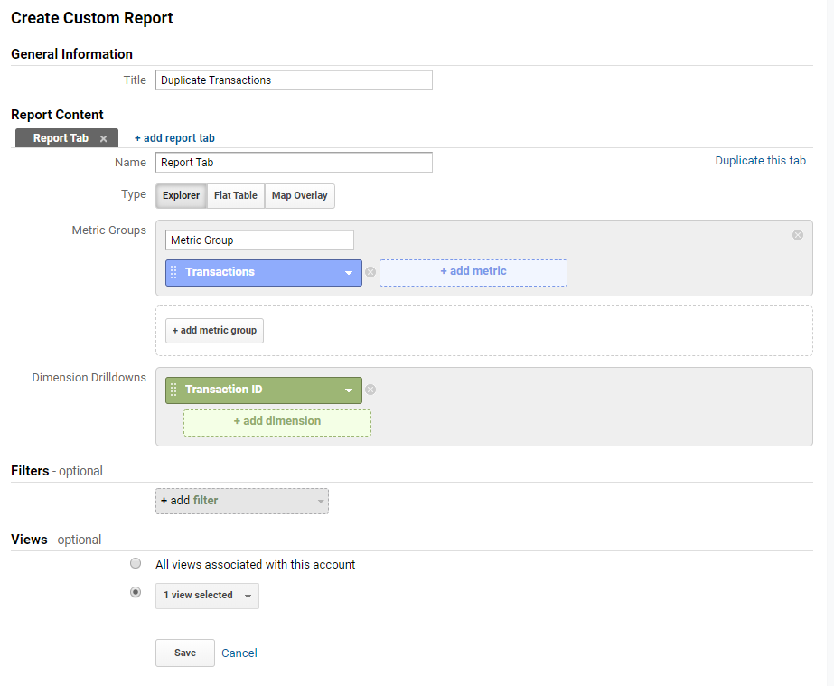 Google Analytics Custom Report for Duplicate Transactions