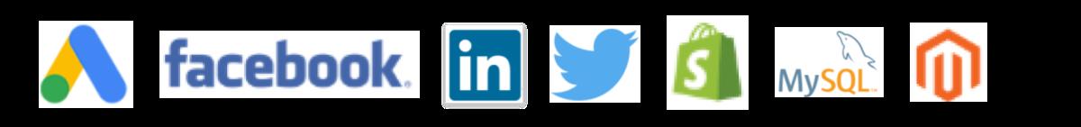 Google Ads, Facebook, LinkedIn, Twitter, Shopify, MySQL, Magento