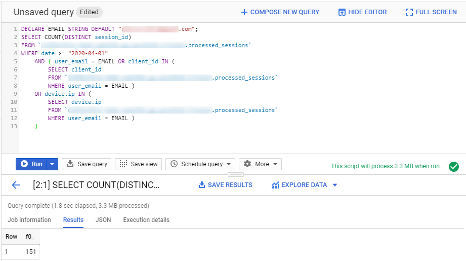 Count of users sessions in BigQuery