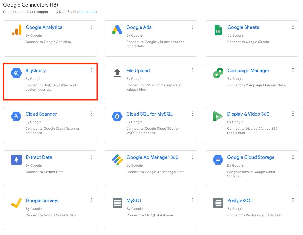 Connect BigQuery to Google Data Studio