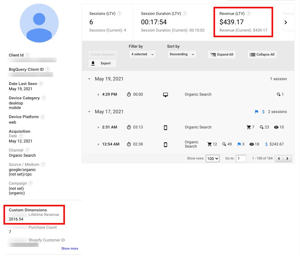 LTV in the Google Analytics user explorer report